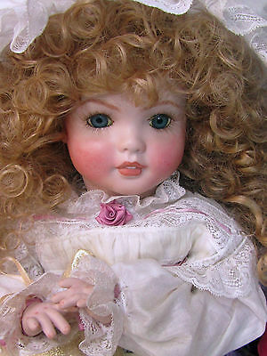 "Antique repro SFBJ Bisque BEBE doll 22"" BATISTE dress LACE bonnet ARTIST signed"