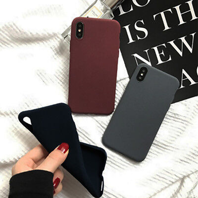 Shockproof Thin TPU Soft Sandstone Matte Back Case Cover For iPhone 8 7 6 Plus X