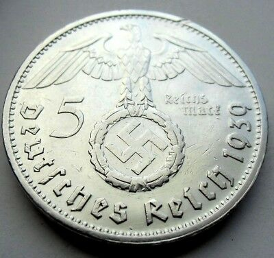 (148)ULTRA RARE WWII German 5 Mark  - 1939 G -  90% Silver -  Coin  BIG SWASTIKA
