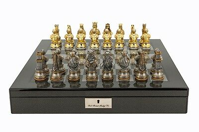 Dal Rossi Italy Medieval Warrior Chess Set on Carbon Fibre Shiny Chess Board