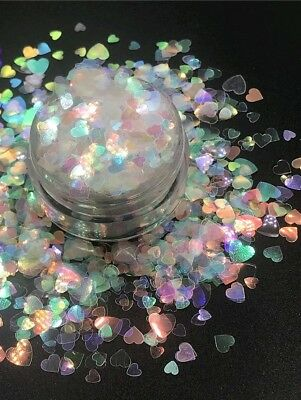 Clear Iridescent Rainbow Hearts Nail Art Glitter Mix Color-Shifting Mixed Sized