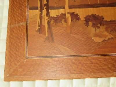 Marquetry Inlaid Wood TREES Wall Hanging ART