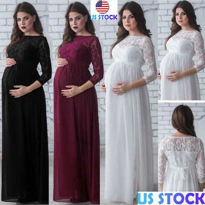 Pregnant Womens Long Sleeve Lace Maternity Maxi Dress Photography Prom Ball Gown