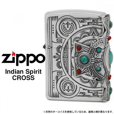 New Zippo Indian Spirit Cross with Natural Stone/ RARE Model from JAPAN F/S Rare