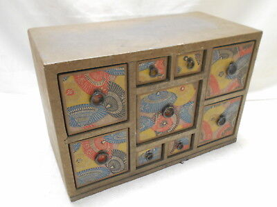 Vintage Decorative Paper/Card Makeup Box Japanese Drawers  C1950s #819