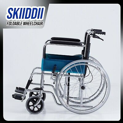 "Skiiddii 24"" Foldable Aluminium Alloy Wheel chair Wheelchair Folding Armrests"