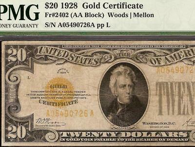 1928 $20 DOLLAR GOLD CERTIFICATE COIN NOTE CURRENCY PAPER MONEY Fr 2402 PMG VF