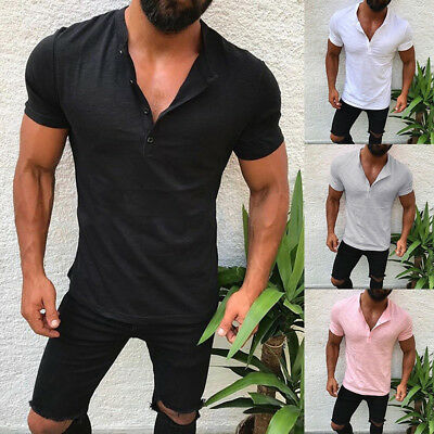 a6a7d4a7 Men's Slim Fit V Neck Short Sleeve Muscle Tee T-shirt Casual Tops Henley  Shirts