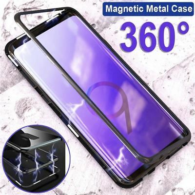 Magnetic Adsorption Flip Case Tempered Glass Back Cover for Samsung Galaxy S9 Pl