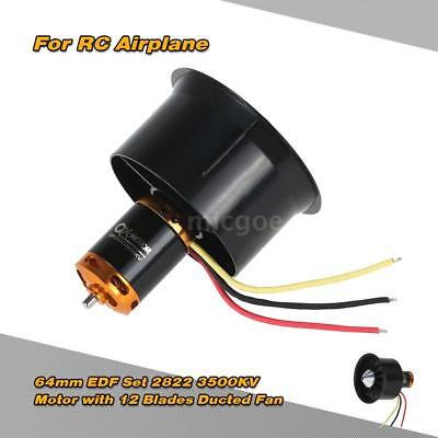 64mm EDF Set 2822 3500KV Motor with 12 Blades Ducted Fan for RC Airplane V6R4