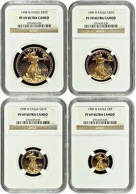 1998 W Gold Set 25 10 5 American Eagle 4 Coins United States NGC PF69-70