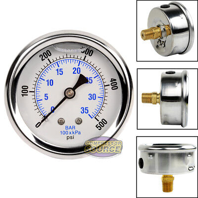 "Liquid Filled 500 PSI Air Pressure Gauge Center Back Mount Mnt with 2.5"" Face"