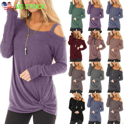 Autumn Women Twist Cold Shoulder Tops Casual Solid Long Sleeve T Shirt Blouse US