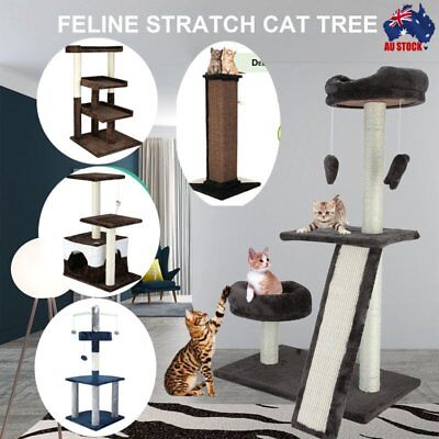 Cat Scratching Tree Post Scratcher Playing Pole Toy House Furniture Multi Level#