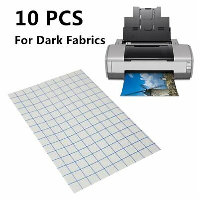 T-Shirt Transfer Paper Iron-On For Dark Fabrics A4 Pack of 10
