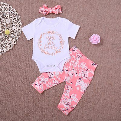 Newborn Infant Baby Girl Romper Tops Jumpsuit Pants Headband Outfits Clothes Set