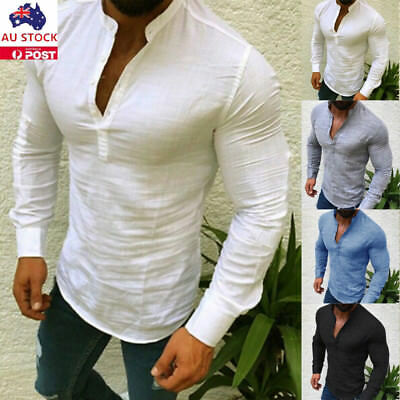 Mens Linen V Neck T-Shirt Casual Button Long Sleeve Slim Tee Shirt Tops Blouse