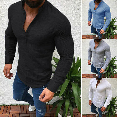 Men's V Neck Buttons Long Sleeve T Shirt Casual Slim Fit Blouse Tops Muscle Tee