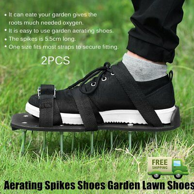 2pcs/set Epoxy Aerating Spikes Shoes Garden Lawn Shoe with 4 Adjustable Straps O