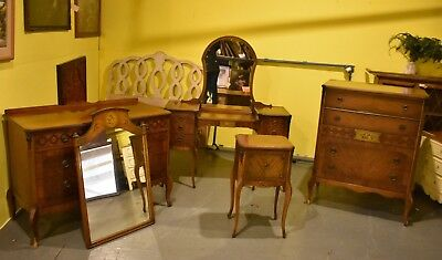 Antique Bedroom Suite Mahogany & Walnut with Stencil and Inlay Vintage Furniture