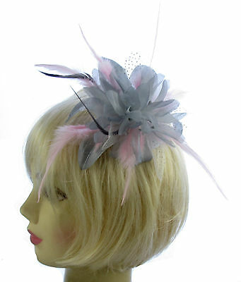 Silver grey and pink comb fascinator for Ascot , Races, Weddings, Ladies Day