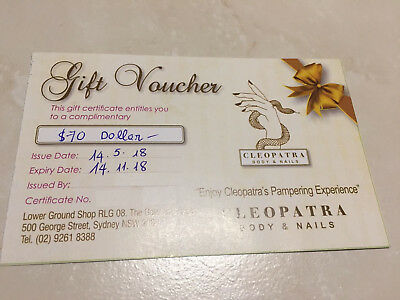 Cleopatra Body and Nails Pamper Massage Gift Voucher Card $70 Value