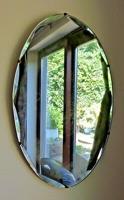 "Vintage Oval Frameless Wall Mirror Bevelled Edge Wood Back 22 x 13"" Art Deco"