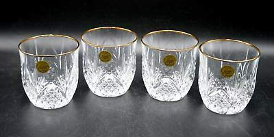 Set of 4 Cristal d'Arques Crystal Old Fashioned Glasses - Longchamp Gold