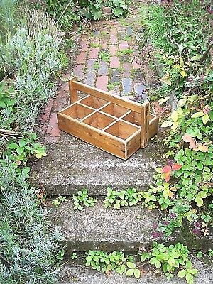 Vintage Rustic Wooden Trug, Pigeon Hole Storage Box Planter Tool Crate Container