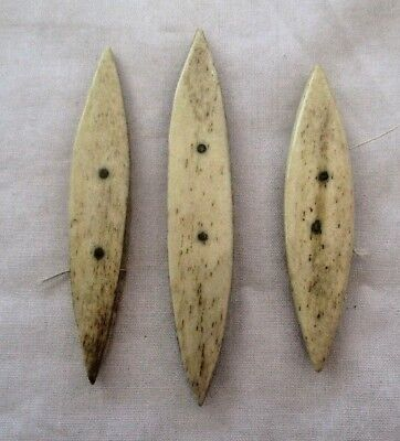 Collection Of 3 Antique Bovine Tatting Shuttles.