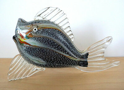 Hand Blown Art Glass Fish Figurine Statue Gray Clear