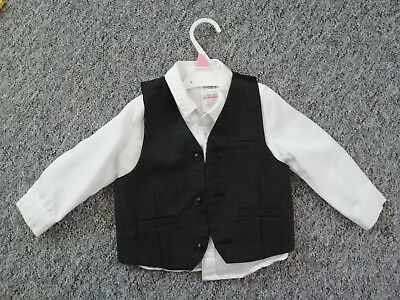 Baby Boy White Shirt & Vest 9-12 Months