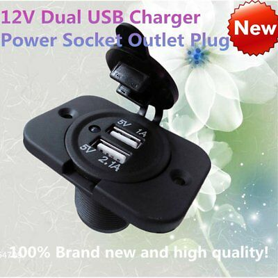 12V Dual USB Charger Power Socket Outlet Plug Panel Mount Boat Truck Auto 8