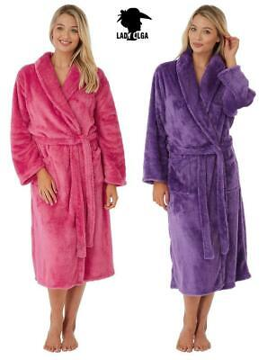 New Ladies Super Soft Fluffy Dressing Gown Wrap Robe Hot Pink - Purple
