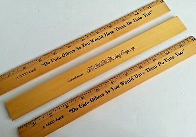 """3 Coca Cola Wooden Rulers 12""""  """"Do Unto Others"""" A Good Rule Vintage Soda Premium"""