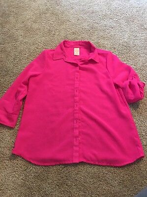 Faded Glory Girls Hot Pink Semi Sheer Button Down Top Size Xl 14–16