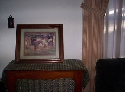 Homco /Home Interior Horse Picture Horses & Colt  at  Horse Stable   Beautiful!