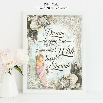 fairy print dreams do come true wishes quote peter pan fairies wall