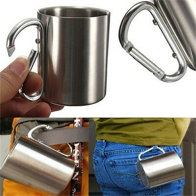 220ml Stainless Steel Mug Outdoor Camp Camping Cup Carabiner Hook Double Wall HC