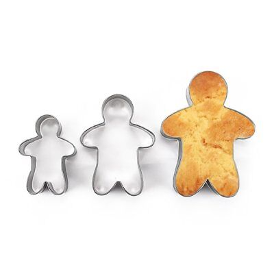 3PCS Stainless Steel Gingerbread Man Cookie Moulds Durable Fondant Cutters  EC