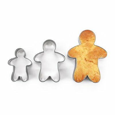 3PCS Stainless Steel Gingerbread Man Cookie Moulds Durable Fondant Cutters ZZ