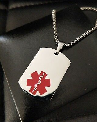 Mens Large Silver Steel Medical Alert SOS Talisman Necklace, Your Engraved Info