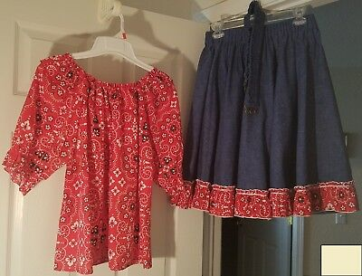 Square Dance Country Skirt Blouse Outfit Set Red Paisley Blue Denim Medium