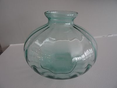 "RARE Pilgrim Art Glass Bulbous Optic VASE 4.5"" Tall AQUA BLUE"
