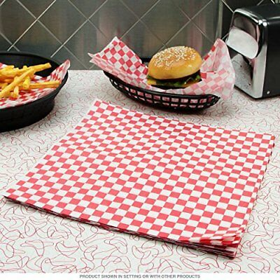 RED Gingham Greaseproof Paper 25 x 20cm Sheets Burger Chips Food Wrap AntiGrease