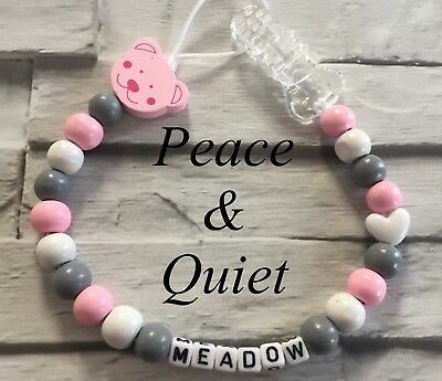 Personalised Dummy Clip💗Wooden🐻Chain💗teddy Bear🐻grey💗pink🐻white💗girl #PWP