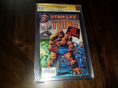 Stan Lee Meets Thing #1 Signed Cgc 9.2 Ss Stan Lee Auto