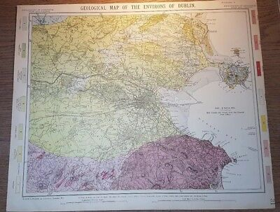 Rare Original 19thC Letts 1889 Geological Map of the Environs of Dublin VGC