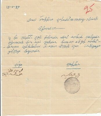 Stamp Turkey 1939 official document with seal. No idea what this is