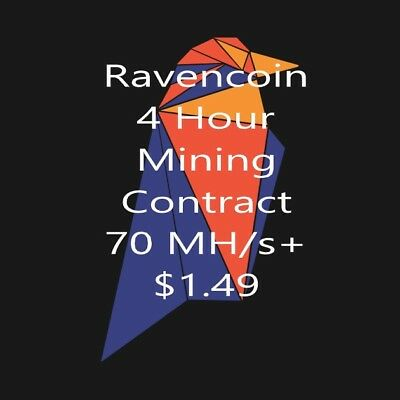 4 Hour Raven (RVN) Mining Contract Miner Zealot Enemy Algo x16r 60 MH/s